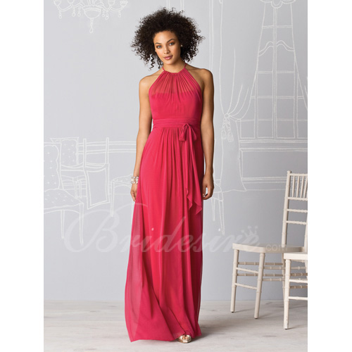 Sheath / Column Sleeveless Floor-length Chiffon Bridesmaid / Wed