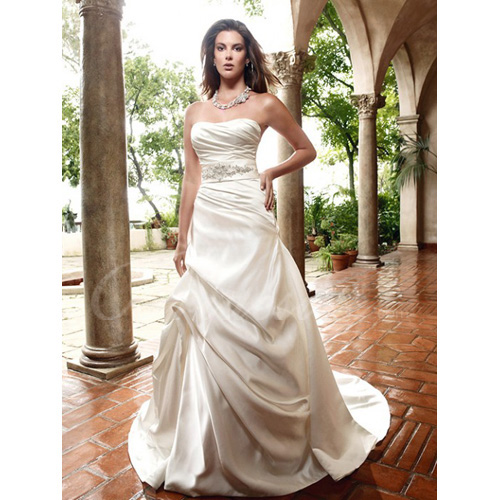 A-line Strapless Sleeveless Court Train Wedding Dress