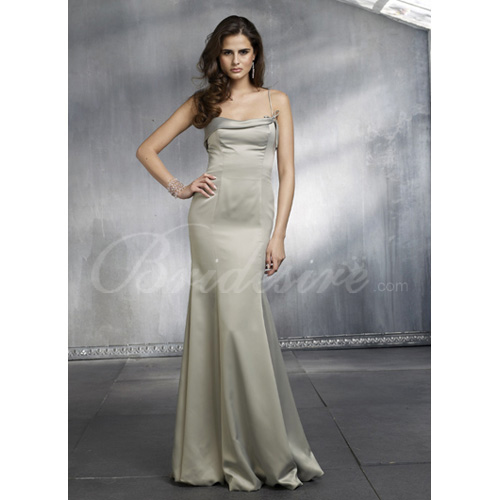 Mermaid / Trumpet Spaghetti Sleeveless Floor-length Satin Brides