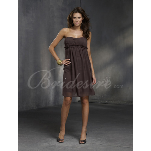 Sheath / Column Strapless Sleeveless Knee-length Chiffon Bridesm