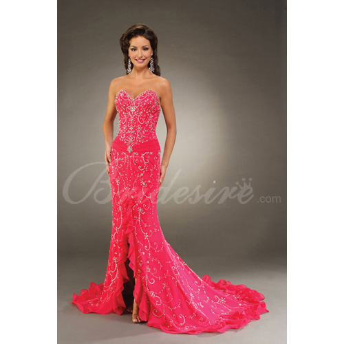 Mermaid / Trumpet Strapless Sleeveless Court Train Satin Chiffon