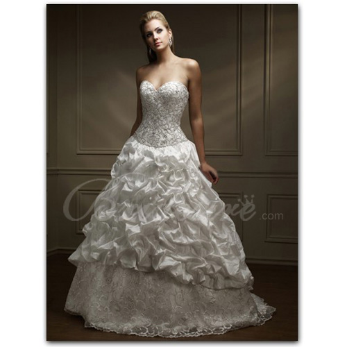 A-line Strapless Sleeveless Chapel Train Satin Lace Wedding Dres