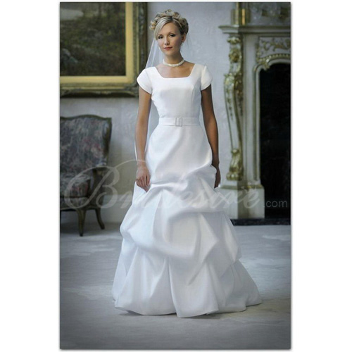 A-line Square Neck Short Sleeves Court Train Satin Wedding Dress