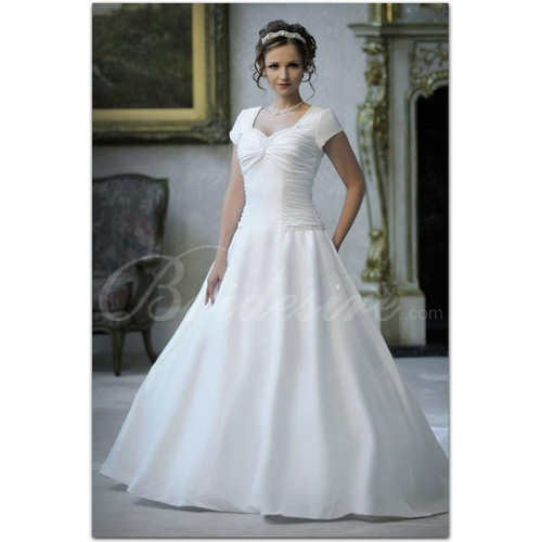A-line Sweetheart Short Sleeves Chapel Train Satin Wedding Dress