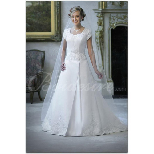 A-line Sweetheart Short Sleeves Court Train Satin Wedding Dress