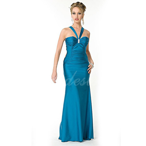 Sheath / Column Halter Sleeveless Floor-length Satin Evening Dre