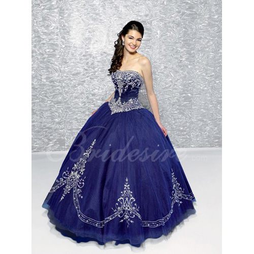 Ball Gown Strapless Sleeveless Floor-length Satin Tulle Evening