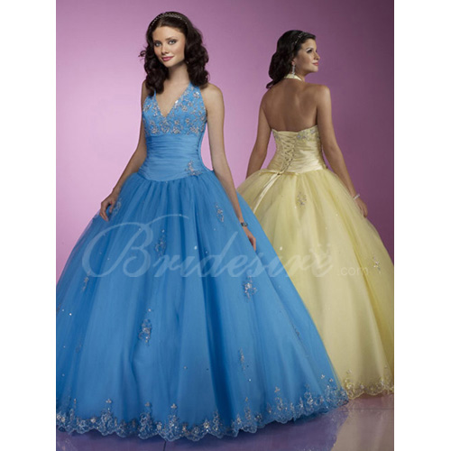Ball Gown Halter Sleeveless Floor-length Satin Organza Evening /