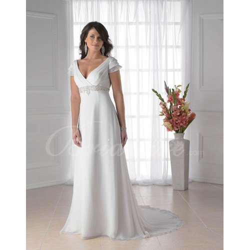 Empire Off Shoulder Sleeveless Court Train Chiffon Maternity Wed