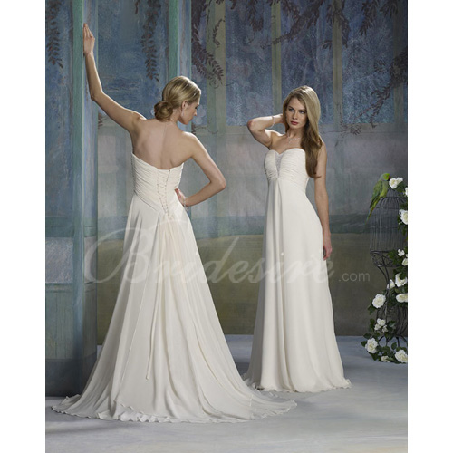 Empire Strapless Sleeveless Court Train Chiffon Wedding Dress