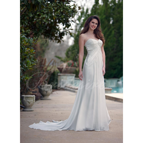 Empire Strapless Sleeveless Court Train Maternity Wedding Dress
