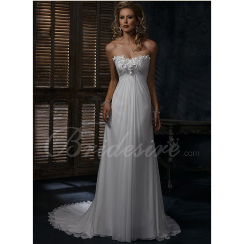 Empire Strapless Sleeveless Court Train Chiffon Maternity Weddin