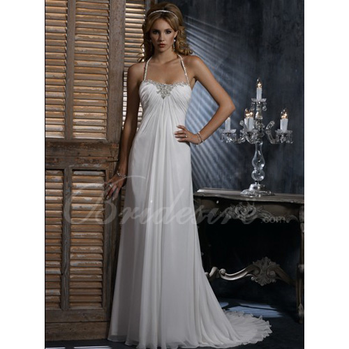 Empire Halter Sleeveless Court Train Chiffon Maternity Wedding D