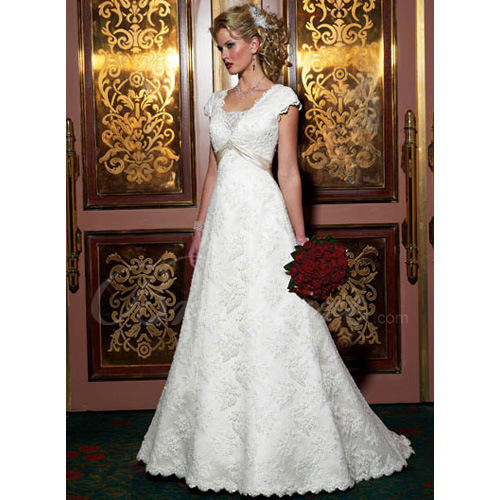 A-line Short Cap-Sleeves Court Train Lace Over Satin Wedding Dre