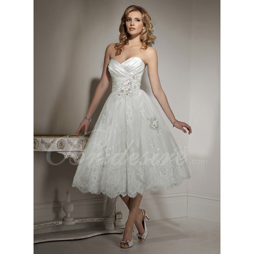 A-line Strapless Sweetheart Sleeveless Tea-length Lace Over Sati