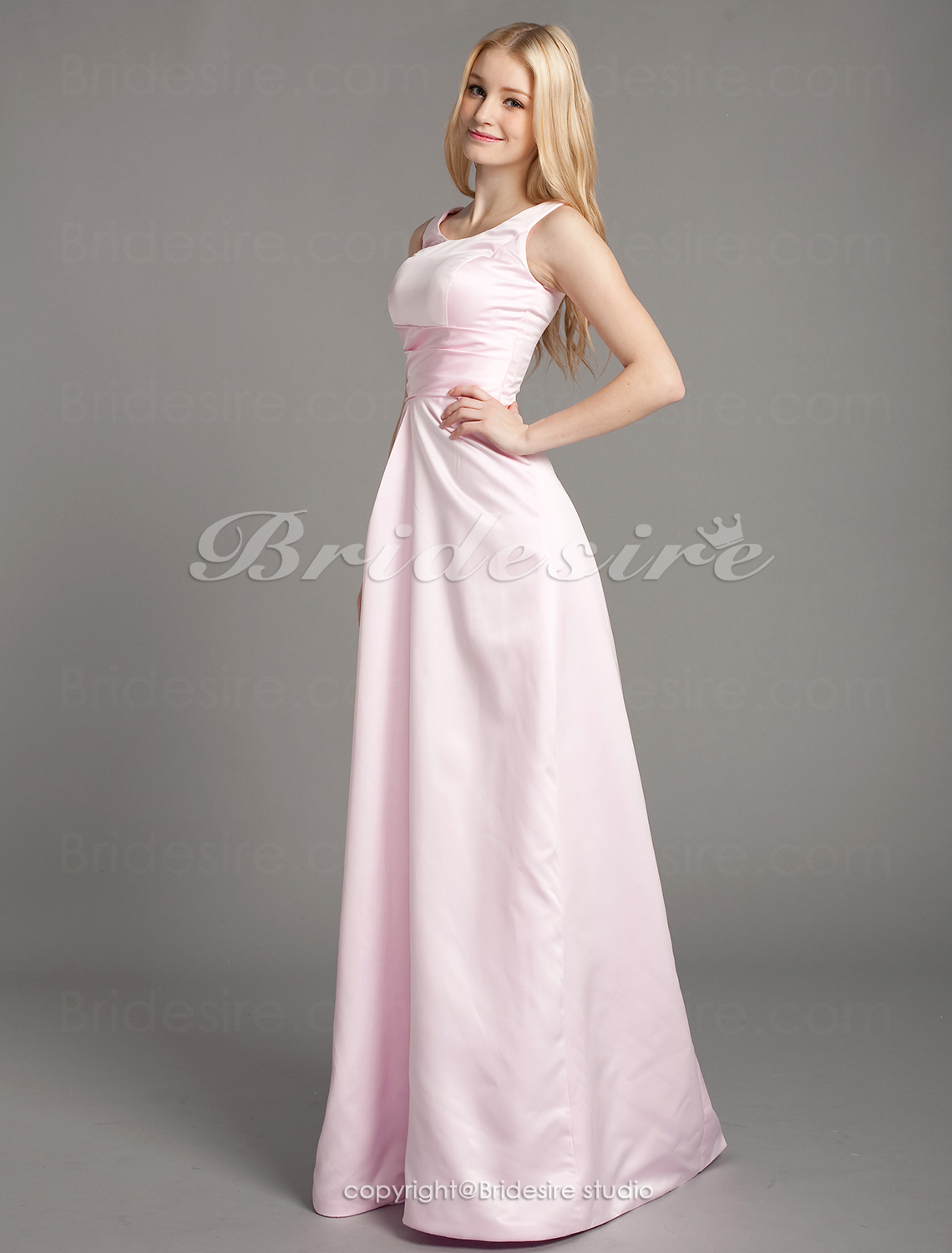 A-line Strapless Sleeveless Chapel Train Satin Wedding Dress wit