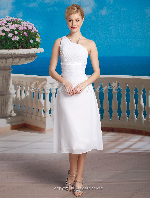 Bridesire sheath column chiffon tea length one shoulder for One shoulder tea length wedding dress