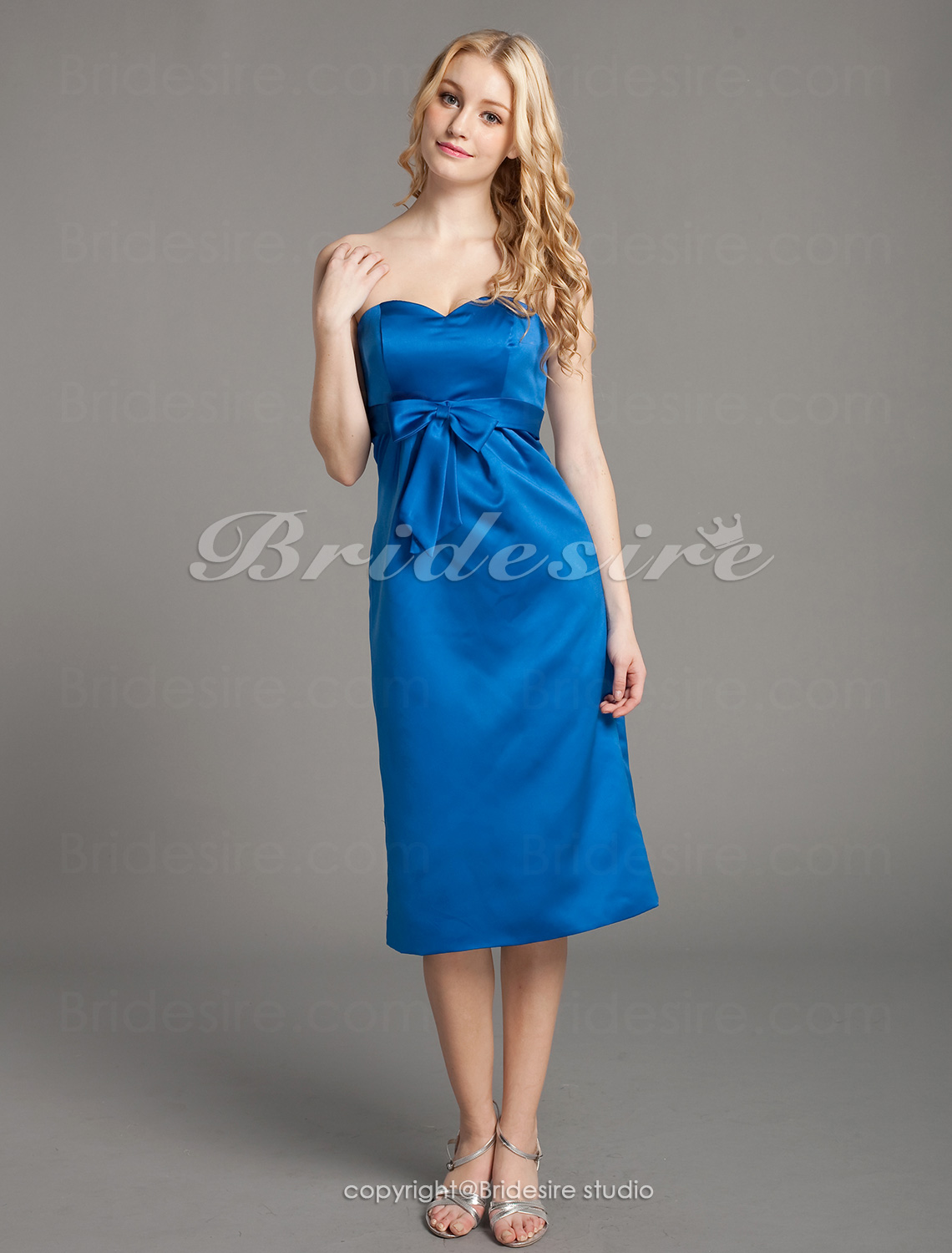A-line Strapless Sweetheart Sleeveless Chapel Elastic Satin Wedd