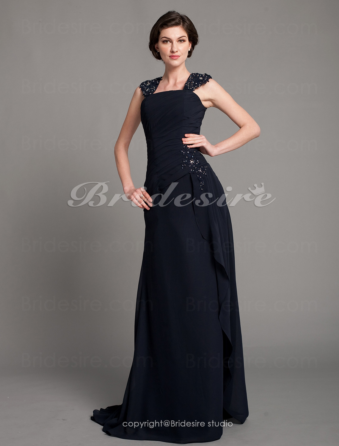 A-line Chiffon Floor-length Off-the-shoulder Evening Dress