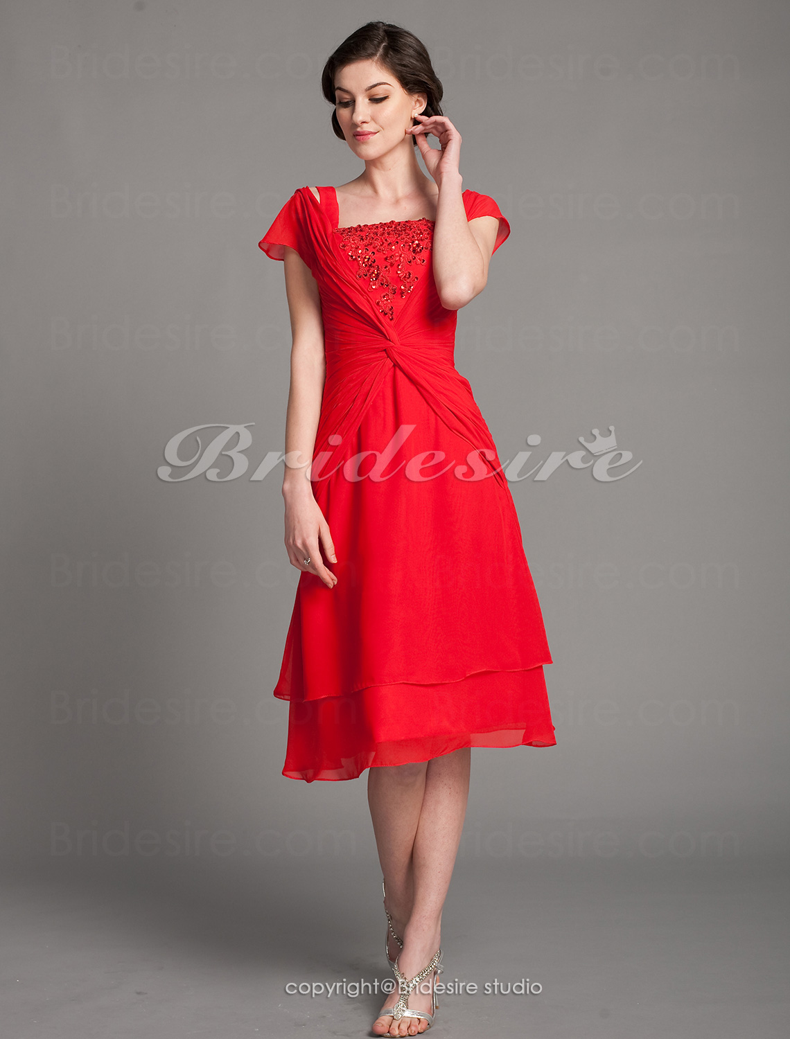 A-line Chiffon Tea-length Square Mother of the Bride Dress