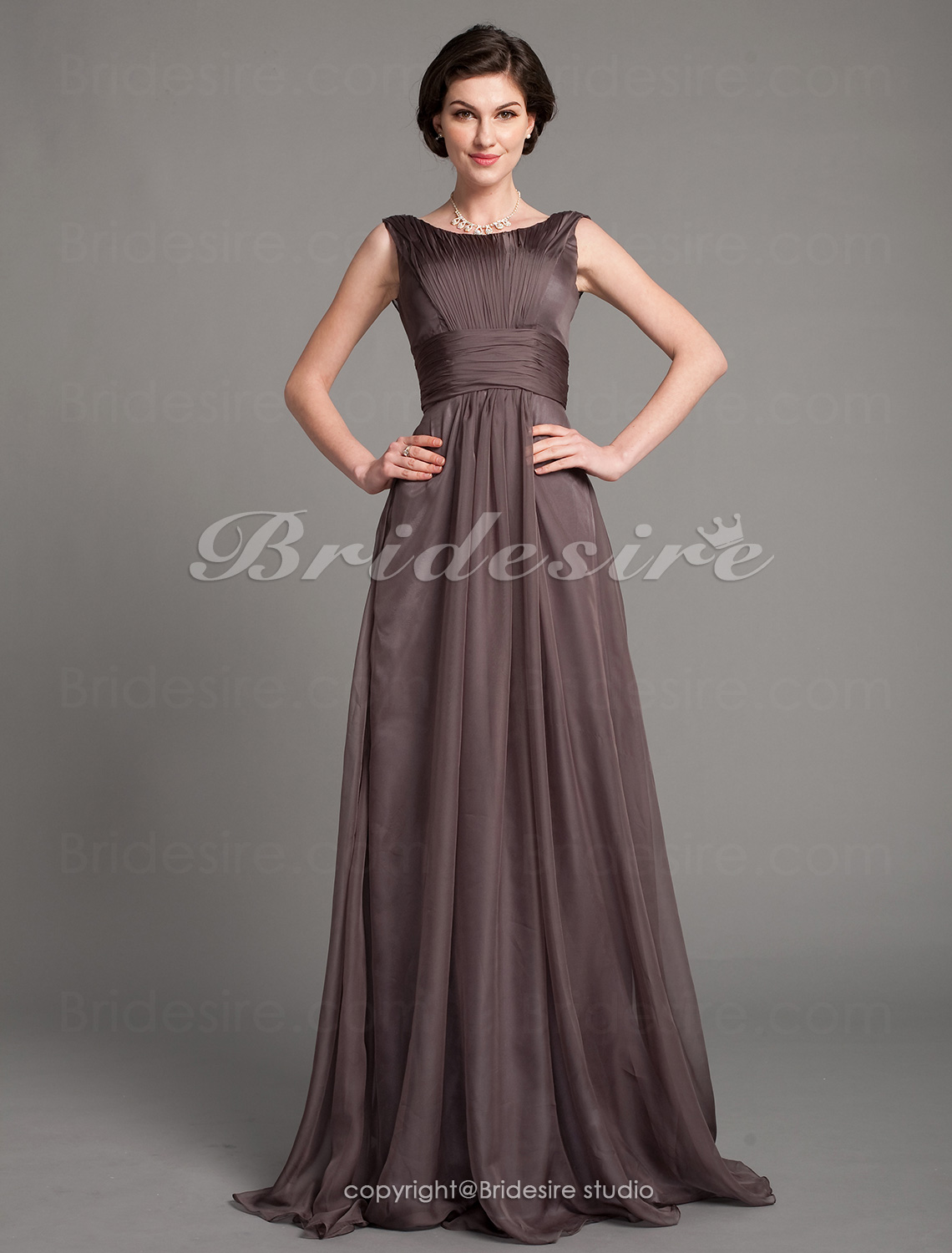 Bridesire Sheath Column Chiffon Floor Length Bateau