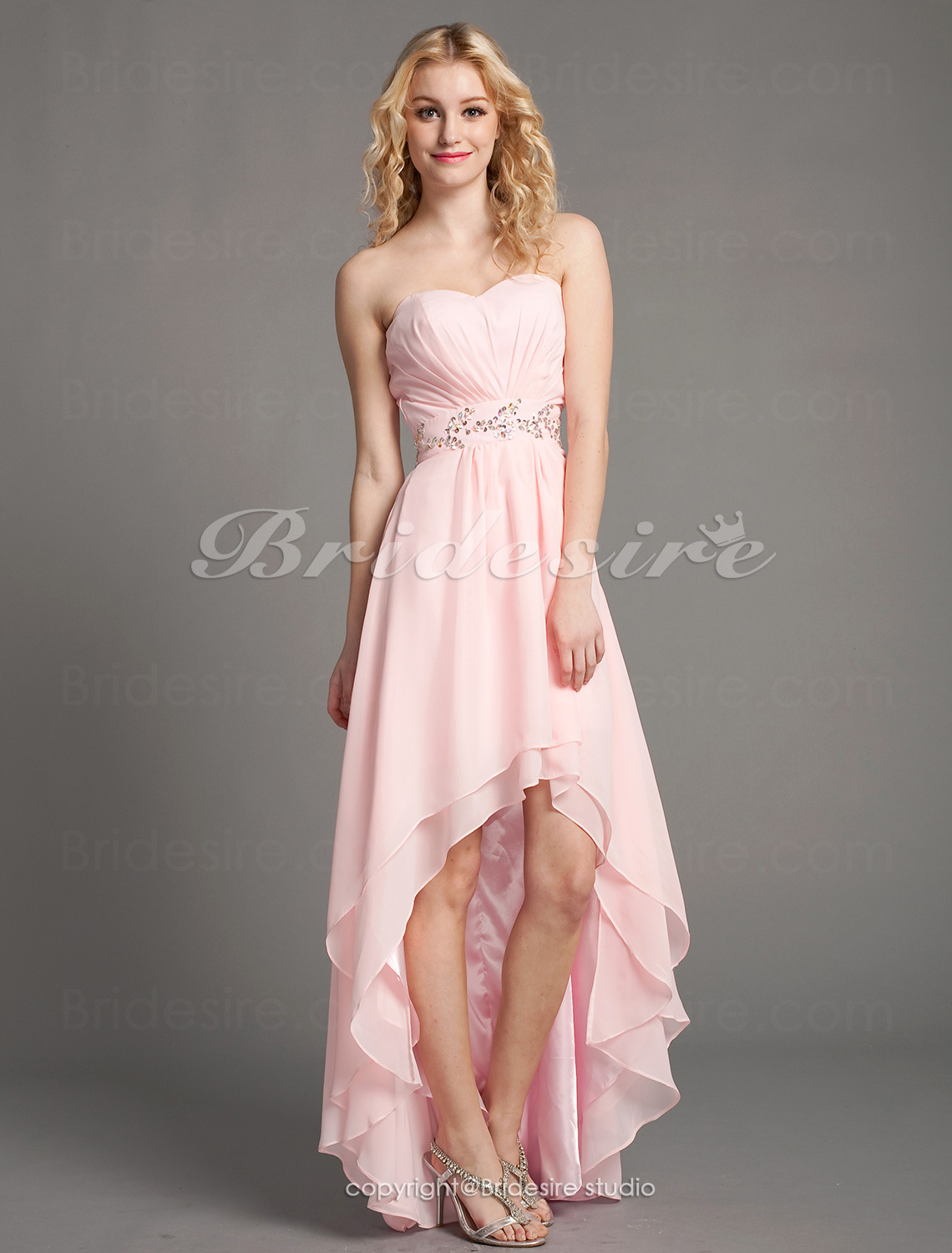 A-line Chiffon Floor-length Asymmetrical Sweetheart Evening Dres