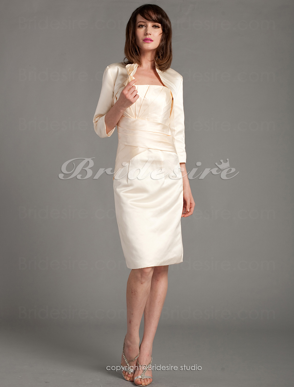 Sheath/Column 3/4 Length Sleeve Strapless Satin Knee-length Home