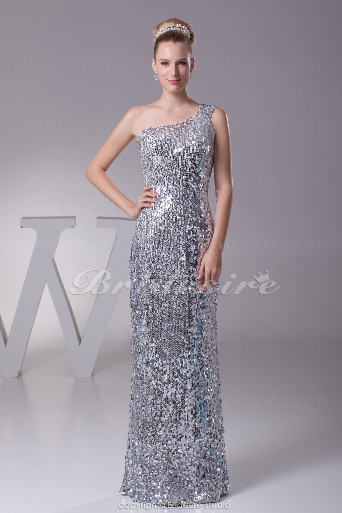 Sheath/Column One Shoulder Floor-length Sleeveless Sequined Dres