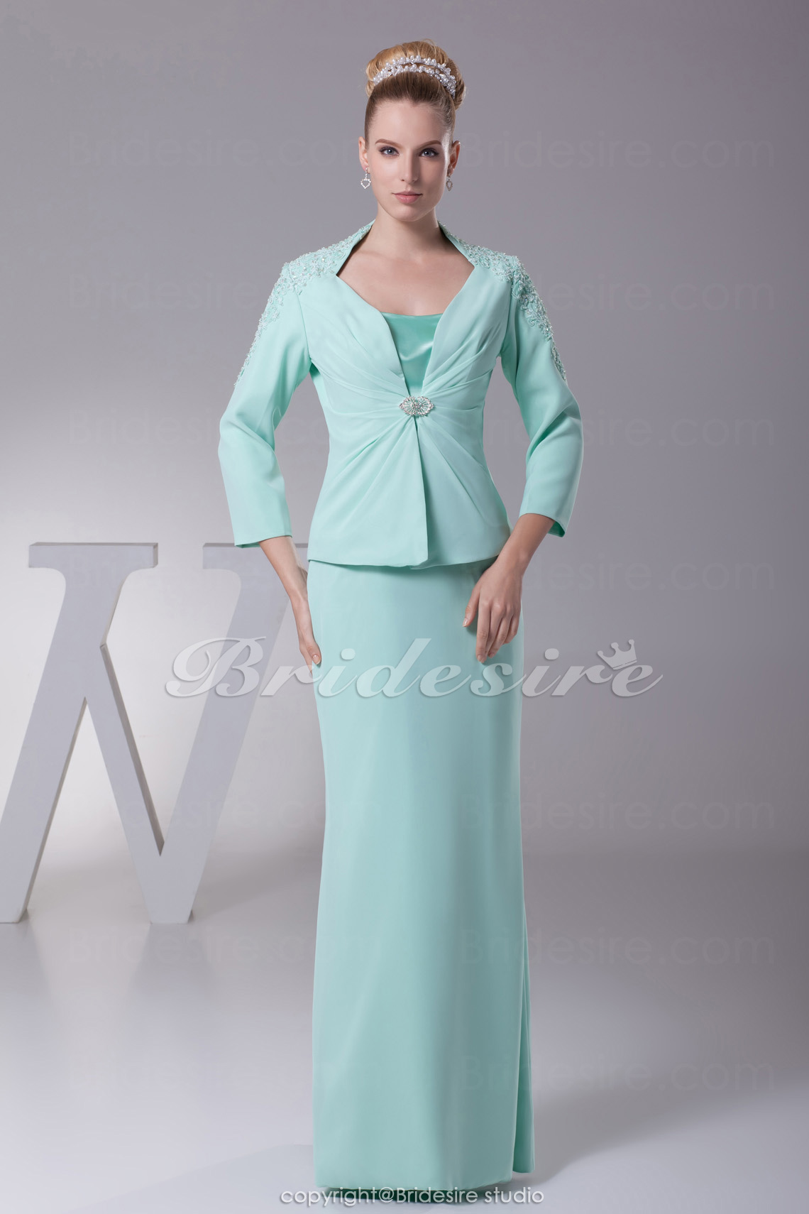 Sheath/Column Spaghetti Straps Floor-length 3/4 Length Sleeve Ch