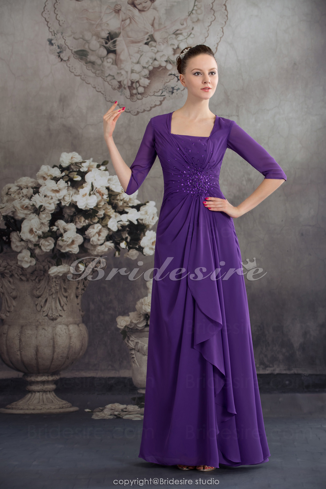 A-line Square Floor-length Half Sleeve Chiffon Dress