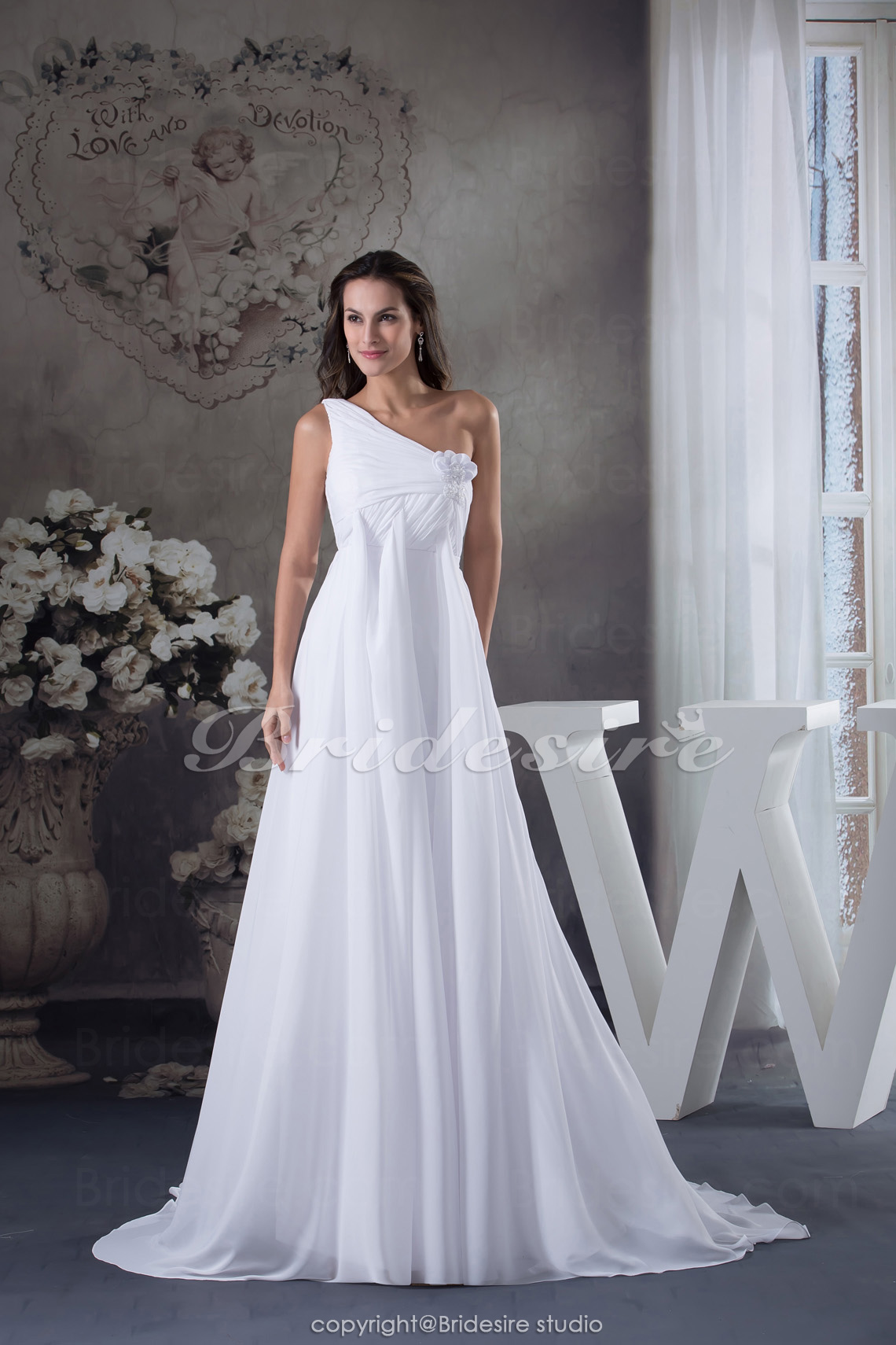 A-line One Shoulder Floor-length Sweep/Brush Train Sleeveless Ch