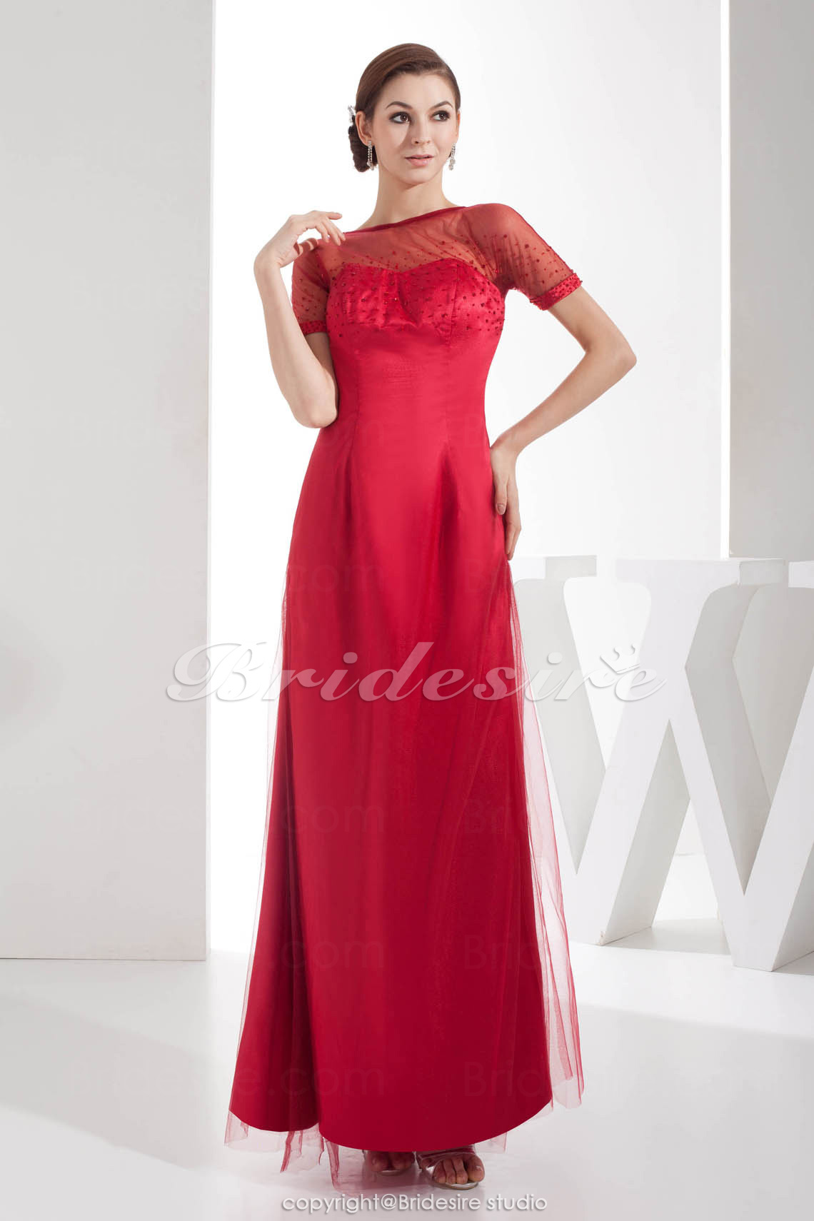 Sheath/Column Bateau Floor-length Short Sleeve Satin Chiffon Dre