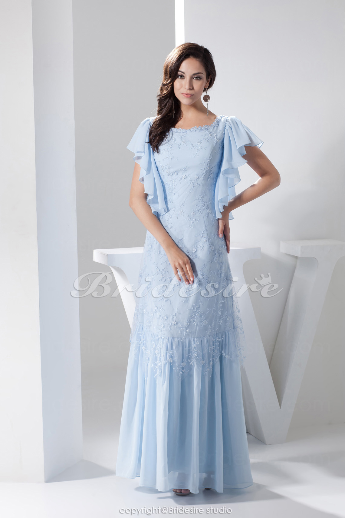 A-line Scoop Floor-length Short Sleeve Chiffon Dress
