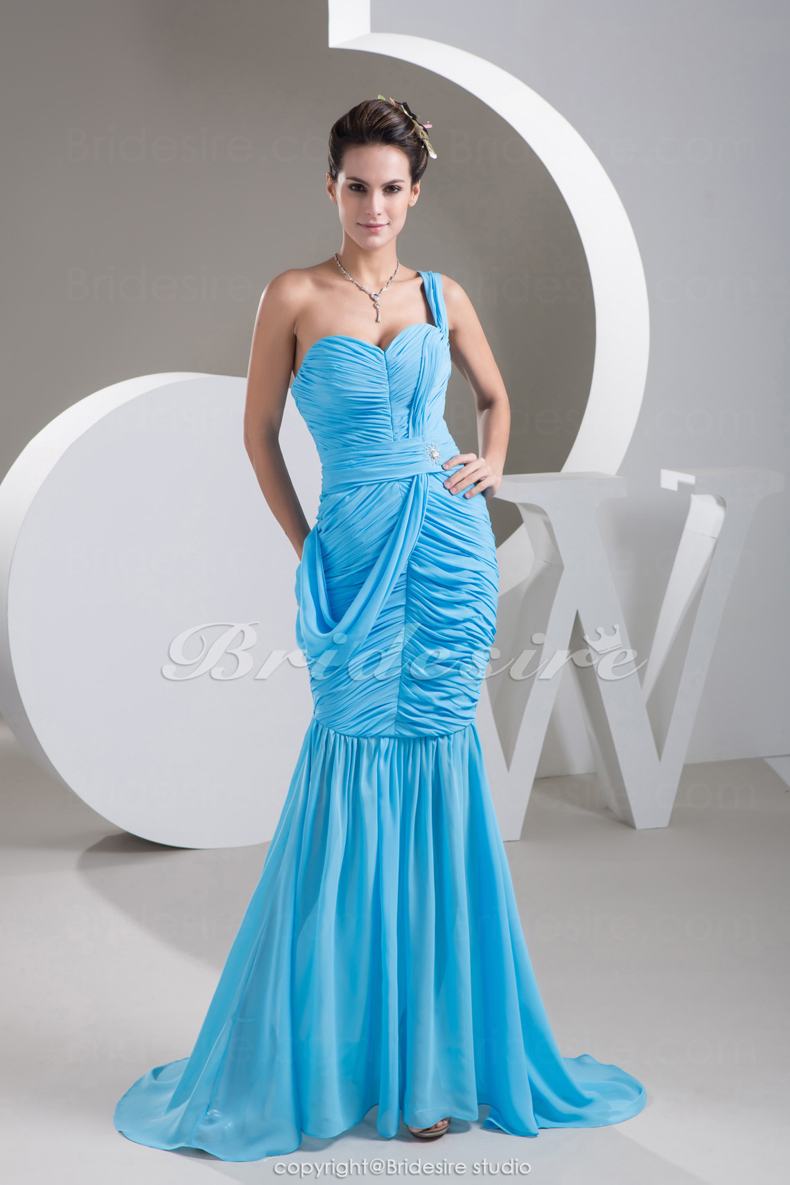 Trumpet/Mermaid One Shoulder Sweep/Brush Train Sleeveless Chiffo