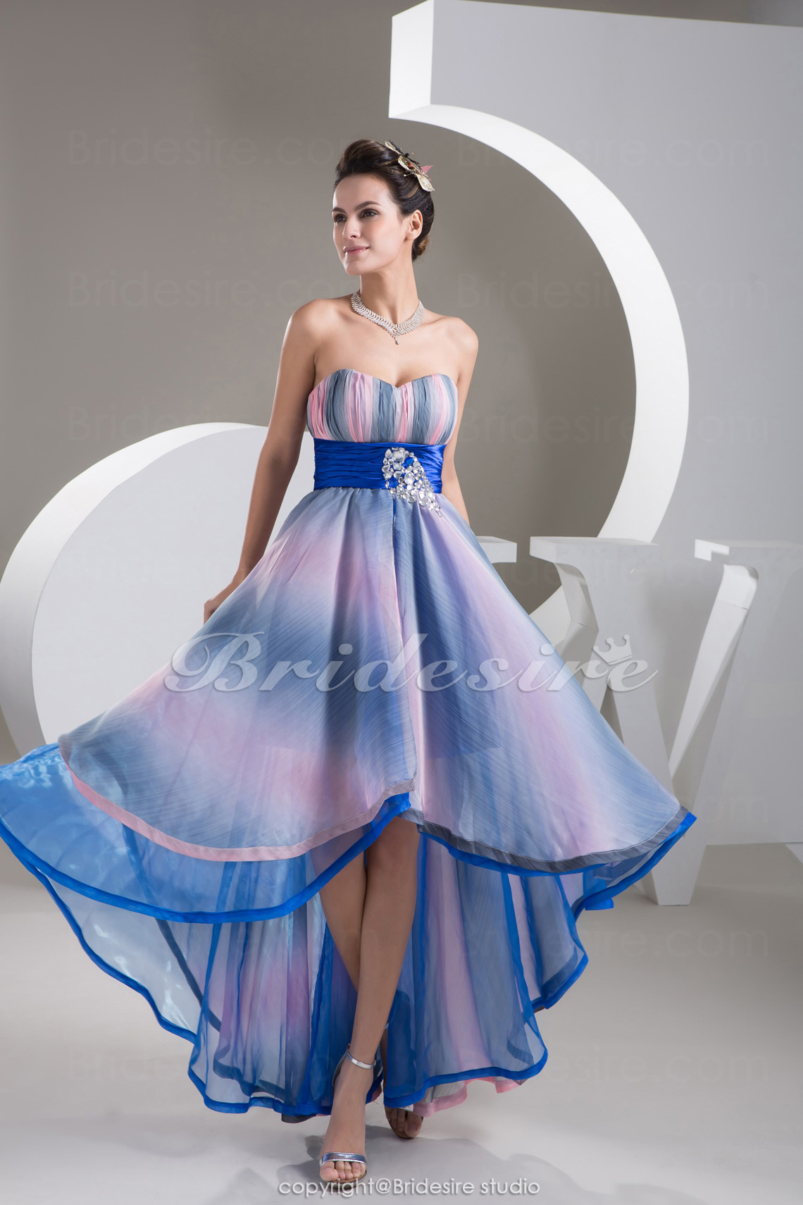A-line Sweetheart Asymmetrical Sleeveless Stretch Satin Chiffon