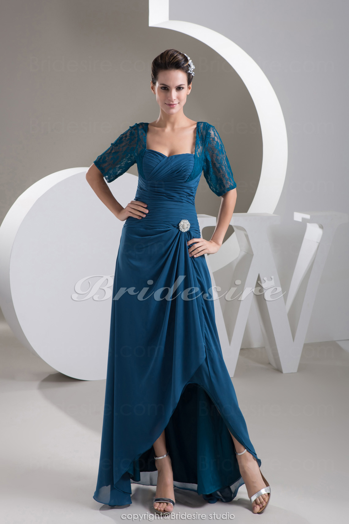 Sheath/Column Sweetheart Floor-length 3/4 Length Sleeve Chiffon
