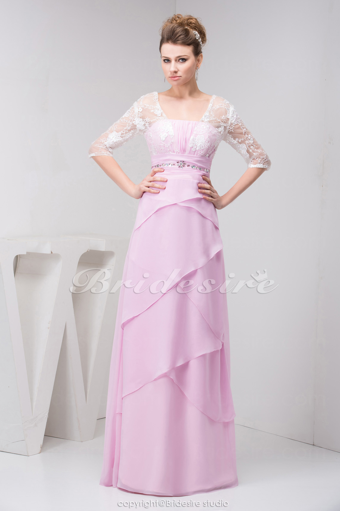 A-line Square Floor-length Half Sleeve Chiffon Lace Dress