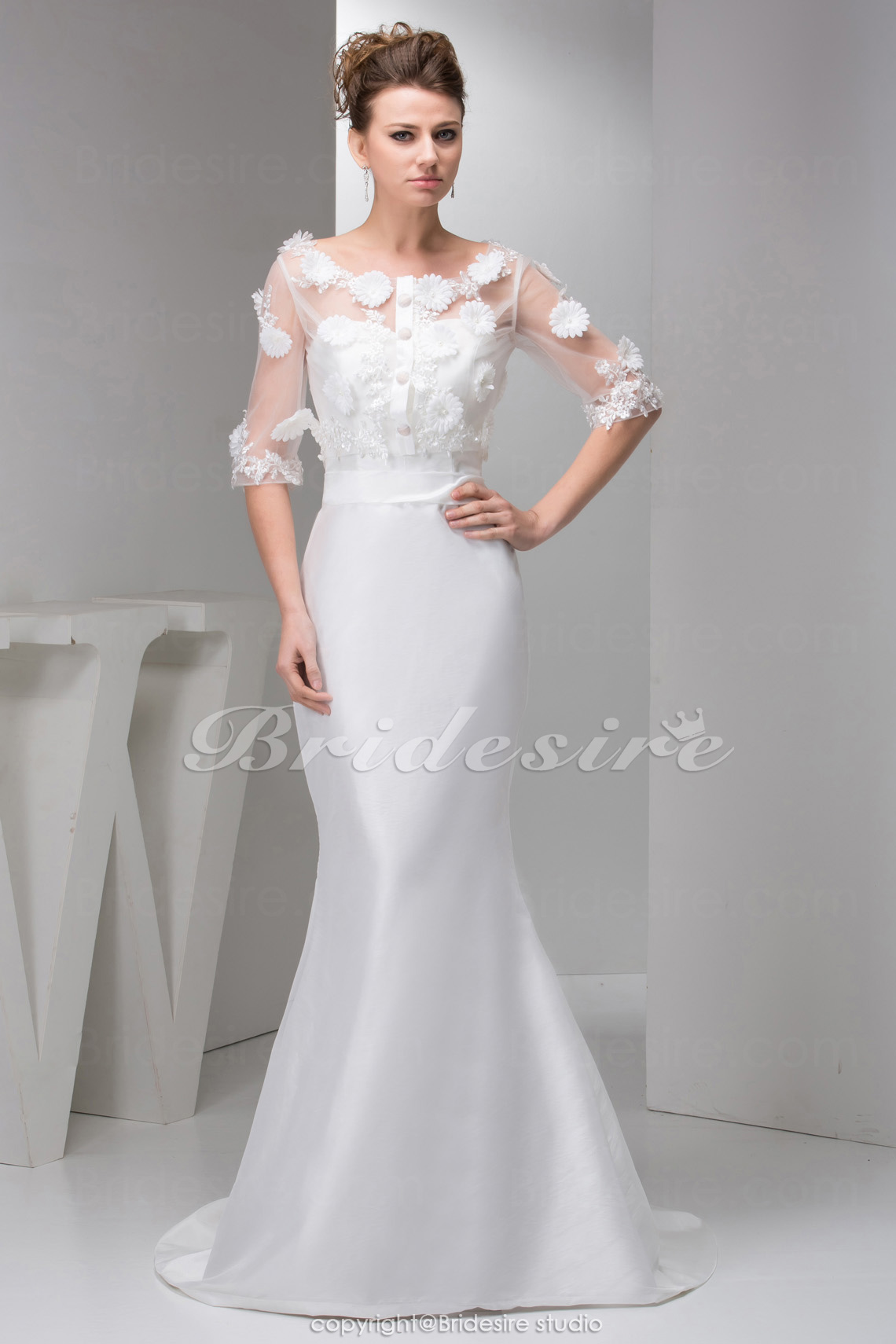 Sheath/Column Bateau Sweep Train Half Sleeve Satin Wedding Dress