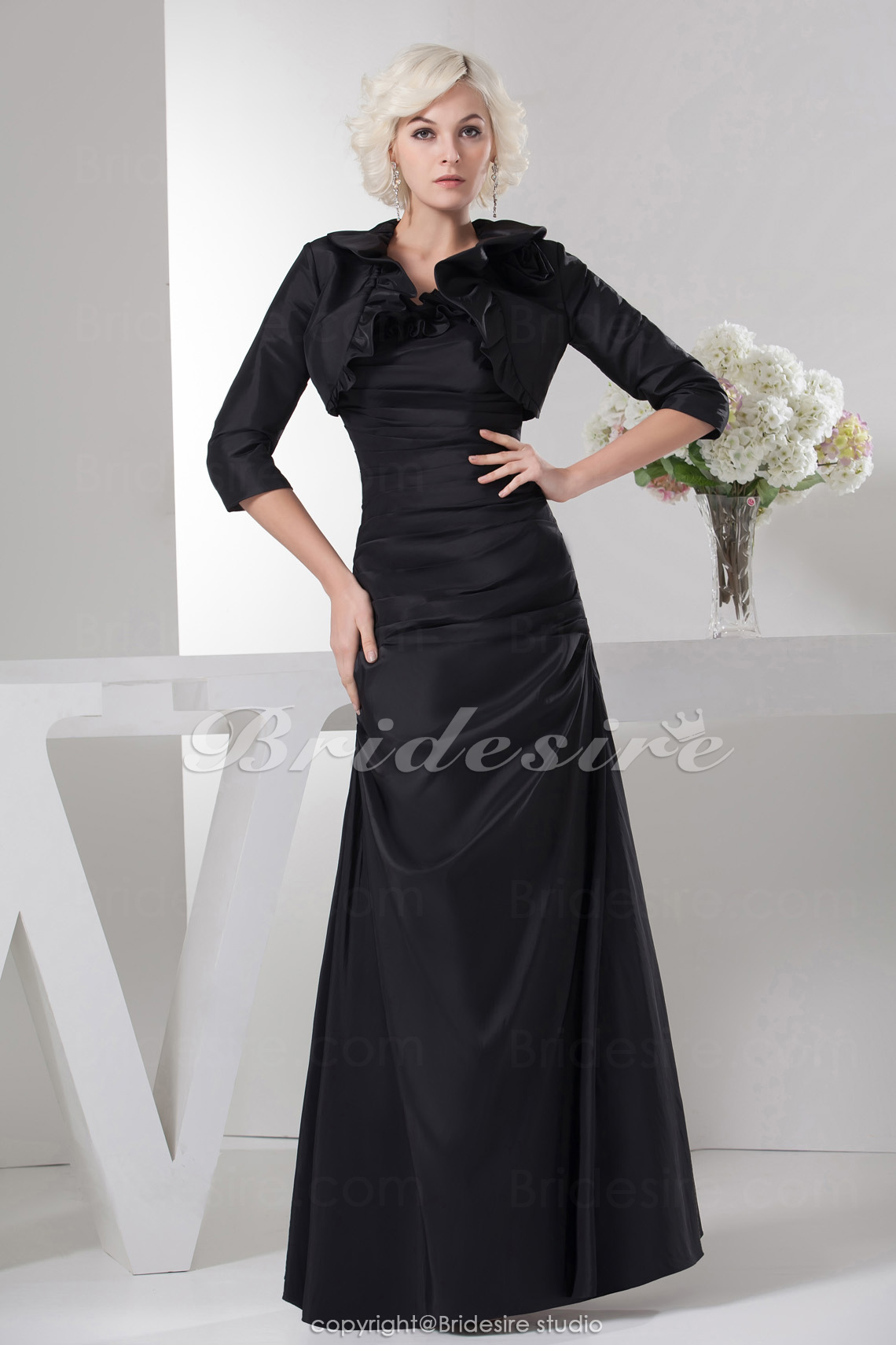 A-line Strapless Floor-length 3/4 Length Sleeve Satin Dress
