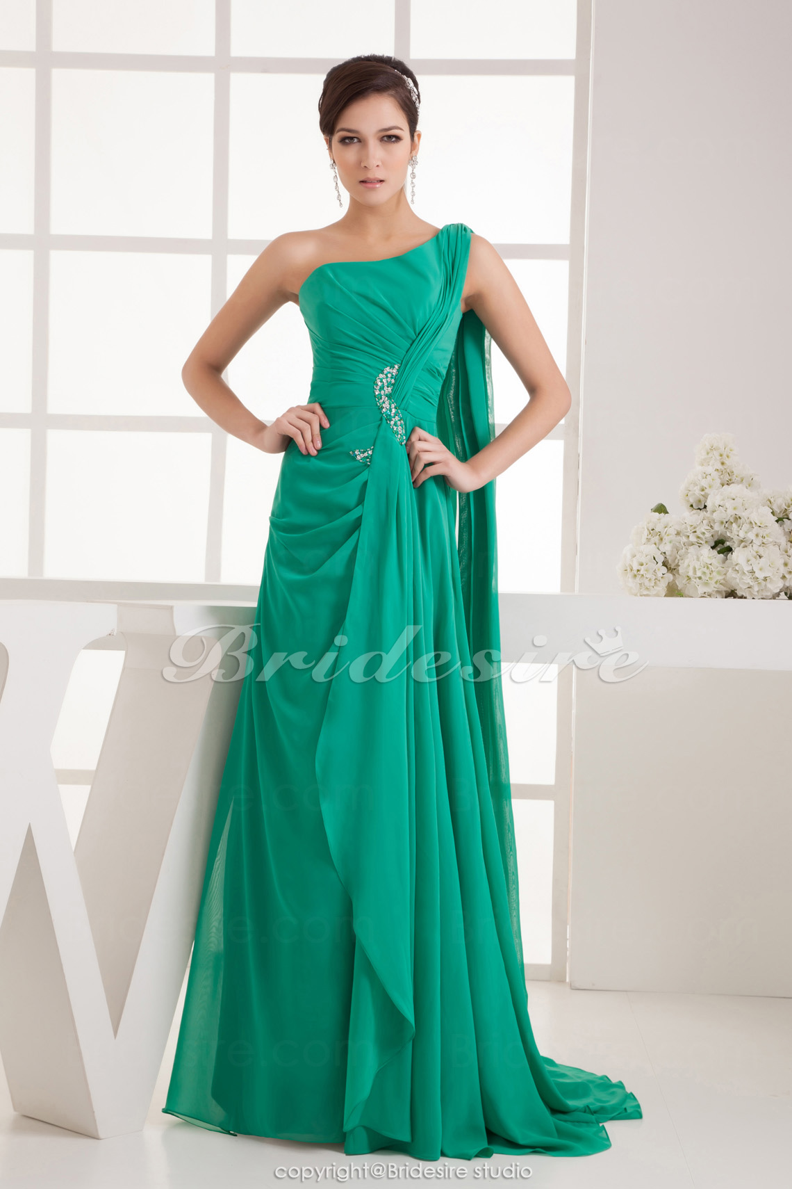 A-line One Shoulder Floor-length Sweep Train Sleeveless Chiffon
