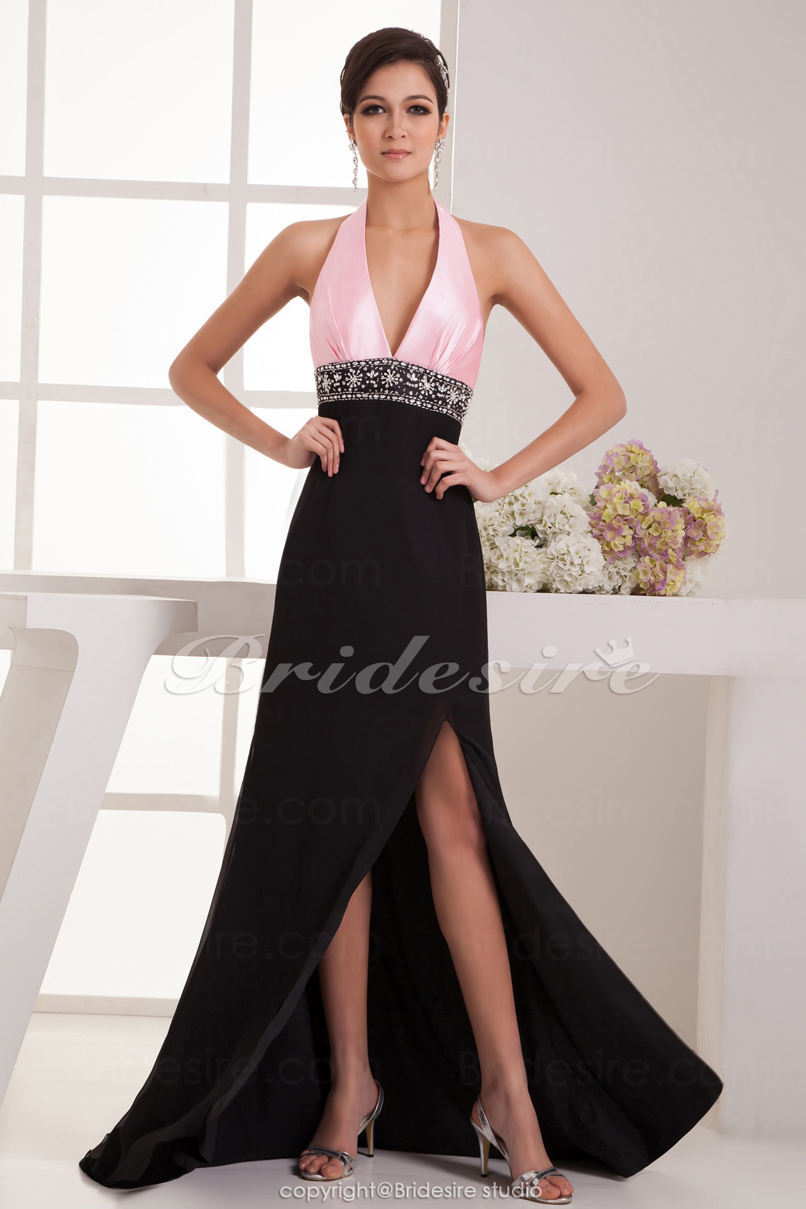 A-line Halter Floor-length Court Train Sleeveless Satin Dress