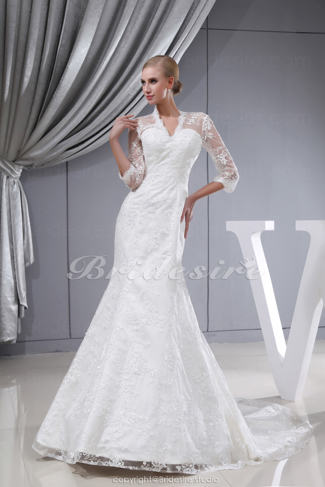 Trumpet/Mermaid V-neck Sweep Train 3/4 Length Sleeve Lace Weddin
