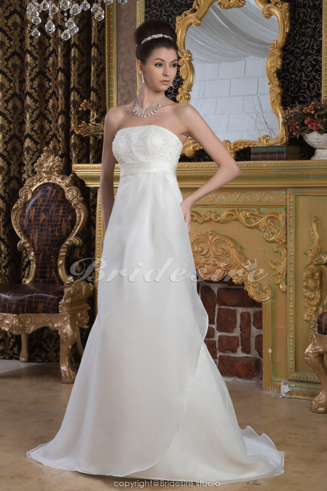 Sheath/Column Strapless Floor-length Sweep Train Sleeveless Sati