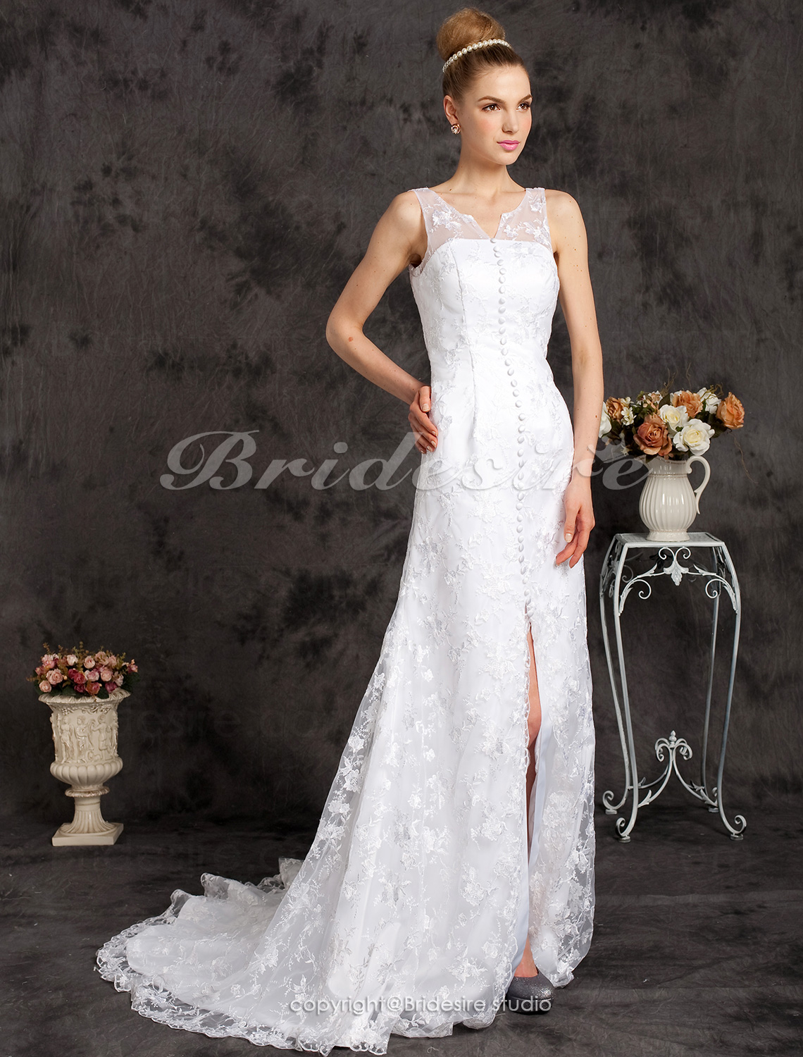 A-line Charming V-neck Lace Chapel Train Wedding Dress