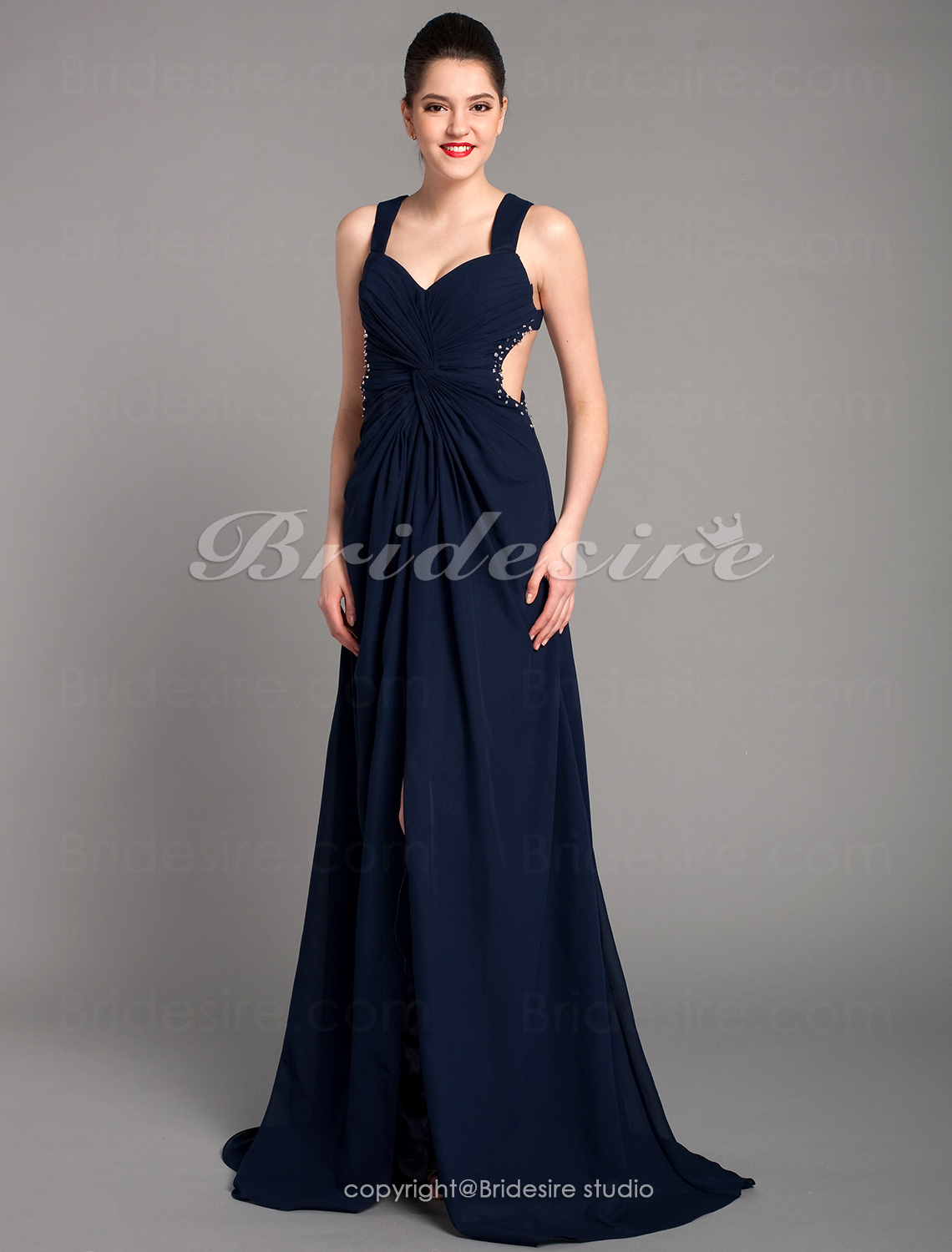 Empire Halter Sleeveless Sweep Train Chiffon Wedding Dress