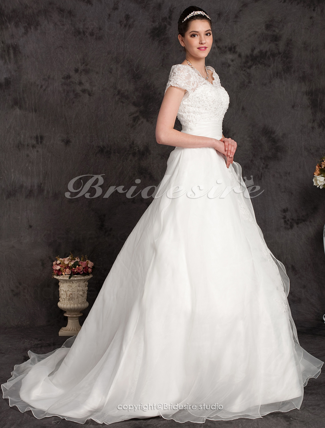 Ball Gown Plus Size Organza Chapel Train Off-the-shoulder Weddin