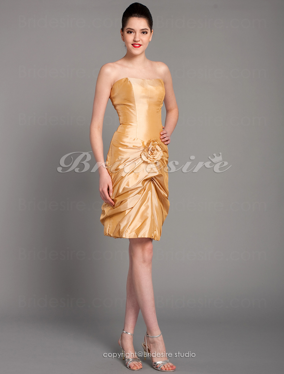 A-line Strapless Sleeveless Chapel Train Satin Wedding Dress