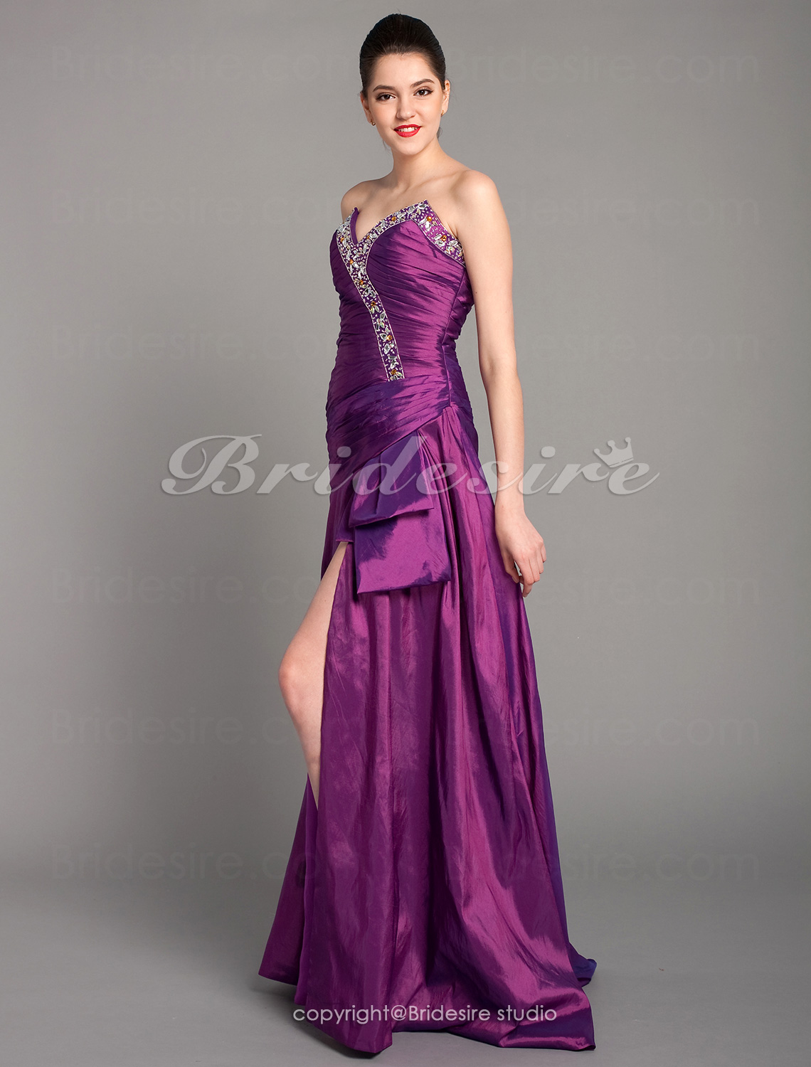 Empire Strapless Sleeveless Sweep Train Chiffon Wedding Dress