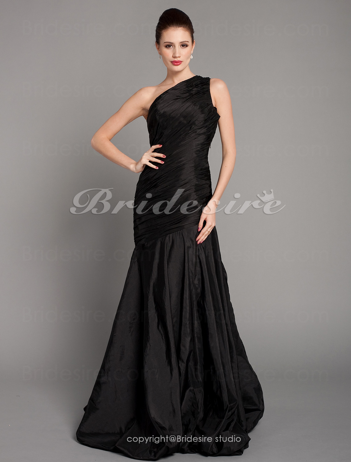 Trumpet/ Mermaid Taffeta Floor-length One Shoulder Evening Dress