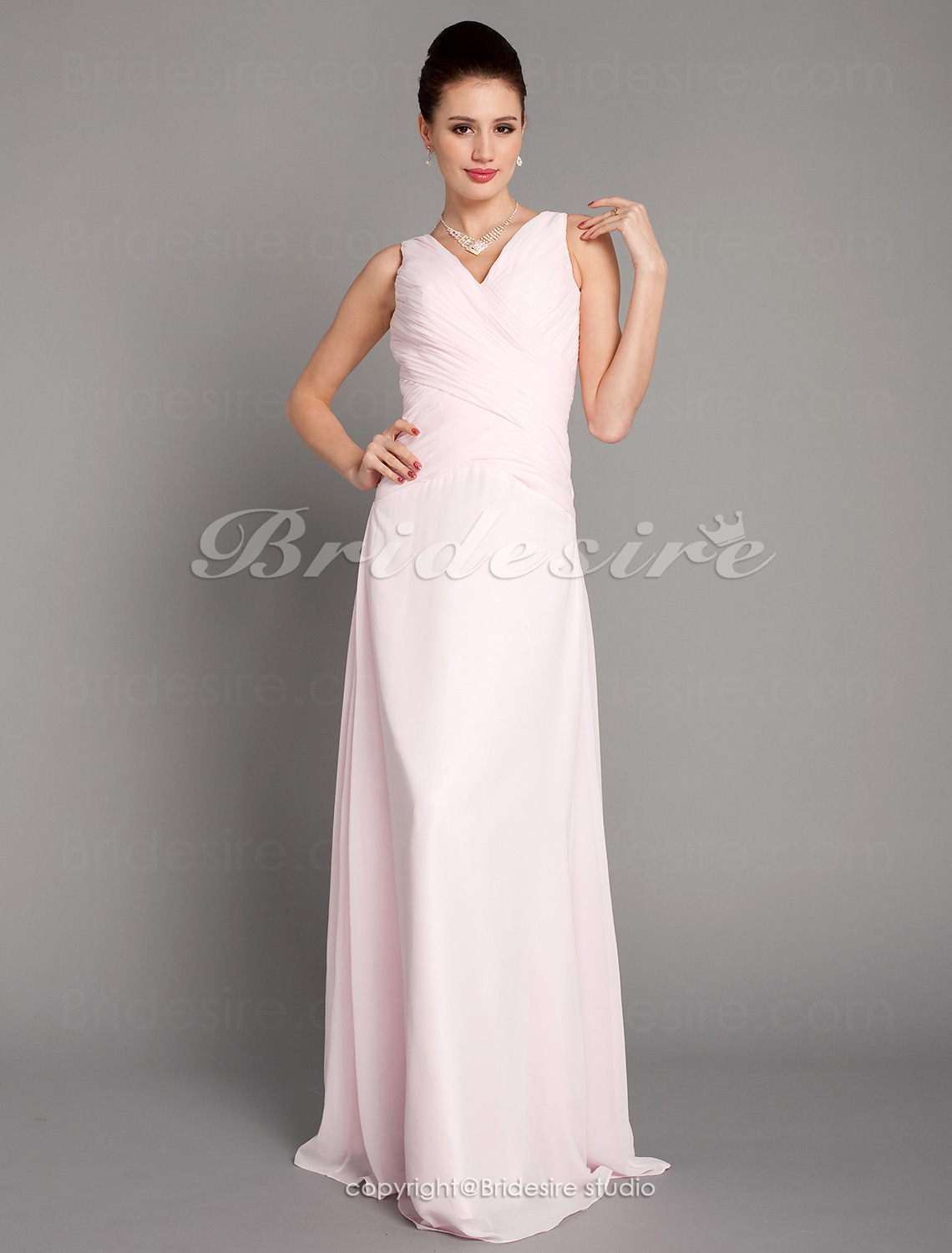 A-line Chiffon V-neck Floor-length Bridesmaid Dress With Criss-C